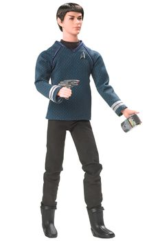Ken doll as Mr. Spock Barbie loves pop culture Pink Label® Designed by: Bill Greening Release Date: 3/26/2009 Star Trek has been spinning its mythology for 40 years. Star Trek XI comes full circle with a prequel featuring the fledgling future icons of the original Star Trek Series. From his magnetic gaze to his pointed ears to his blue sciences division uniform shirt, Ken® doll as Mr. Spock perfectly captures the half-Vulcan executive officer of the U.S.S. Enterprise. Live long and prosper!