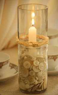 button candle centerpiece ~ neutral & rustic