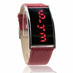 Tanboo Red PU Leather Band Elagant Women Silvery Frame Red LED Wrist Watch by Tanboo Watchs. $6.99. Sports Fan Watch. Gender:Women'sMovement:LEDDisplay:DigitalStyle:Wrist WatchesType:Fashionable WatchesBand Material:PUBand Color:RedCase Diameter Approx (cm):4.9 x 2.8Case Thickness Approx (cm):1Band Length Approx (cm):24.5