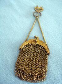Antique Chatelaine Purse - Chain Mesh Purse on Belt Clip  c. 1890-1910
