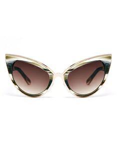 Handmade Acetate Cat Eye Sunglasses With Metal Bridge Detail