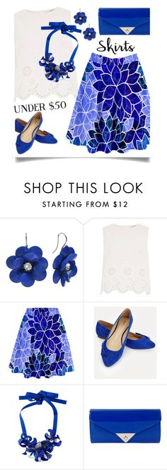 """""""Cobalt & White"""" by petalp ❤ liked on Polyvore featuring River Island, JustFab, P.A.R.O.S.H., JNB, under50 and skirtunder50"""