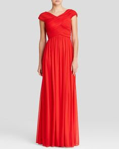 Js Collections Gown - Cap Sleeve Pleated