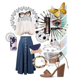 """""""Summery Travels"""" by ellefairy on Polyvore featuring WallPops, Yves Saint Laurent, Splendid, Sole Society, Gucci, Kate Spade, Bling Jewelry and FOSSIL"""