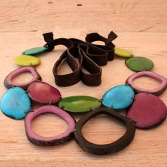 Colorful Tagua Necklace and Earring Set Eco by ArtisansintheAndes