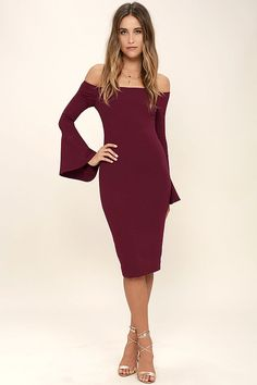 Everything you could hope for has arrived in the stylish All She Wants Burgundy Off-the-Shoulder Midi Dress! Medium-weight stretch knit sweeps across an off-the-shoulder neckline (with no-slip strips) into long bell sleeves. Darted bodycon bodice and midi skirt with kick pleat. Hidden back zipper.