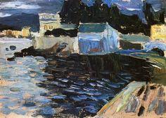 Sestri evening by Wassily Kandinsky. Medium: Oil on Canvas Board; Franz Marc, Landscape Art, Landscape Paintings, Monet, Catalogue Raisonne, Aesthetic Experience, Wassily Kandinsky Paintings, Kandinsky Art, Fauvism