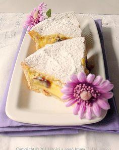 Torta bocconotto     Torta bocconotto Per una tortiera da 26 Frolla ingredienti : 1/2 kg di farina 00Molino Rossetto 200 gr di burro o strutto 200 gr di zucchero 1 uovo intero 2 tuorli scorza di limone grattugiata 1 pizzico di sale  Per la crema 1/2 lt di latte 4 tuorli 170 gr di zucchero 60 gr di fecola o farina 1 bustina di vanillina AmareneToschiq.b.  Preparazione: Preparare la frolla impastando la farina con il burro, lo zucchero, le uova, la scorza del limone grattugiata e il…