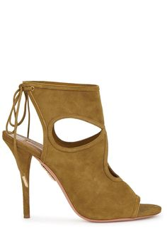 Aquazzura pistachio suede sandals Heel measures approximately 4 inches   105mm Cut-out, open da7690f1b8