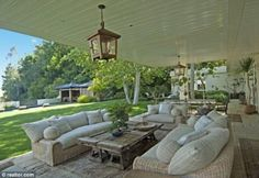 Lazy days: The house features a relaxing outdoor area, complete with kitsch lanterns