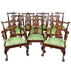 Ten George II Carved Mahogany Dining Chairs | From a unique collection of antique and modern chairs at https://www.1stdibs.com/furniture/seating/chairs/