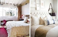literally love everything about the bed on the left especially the crochet throw. minus the red tho