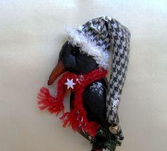Christmas primitive crow by TheChristmasDen on Etsy Crow, Primitive, Dinosaur Stuffed Animal, Winter Hats, Christmas, Animals, Etsy, Xmas, Raven