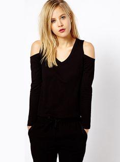 Black Off the Shoulder Elastic Slim T-Shirt - Sheinside.com