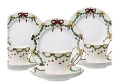 3 x Royal Copenhagen Christmas Kaffeegedeck #royalcopenhagen