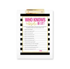 Kate Spade Bridal Shower Who Knows the Bride Quiz Game - Printable