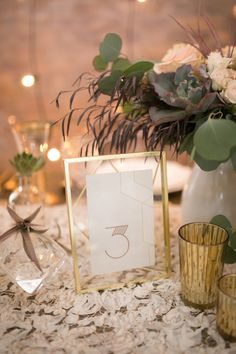 Art-deco table number decor: http://www.stylemepretty.com/canada-weddings/ontario/toronto/2015/08/14/modern-industrial-inspiration-shoot/ | Photography: Simply Lace - http://www.simplylacephotography.ca/