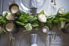 Wedding garland table runner - salad & roses