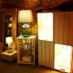 handmade lamps  natural design  driftwood, old glass bottle and stone