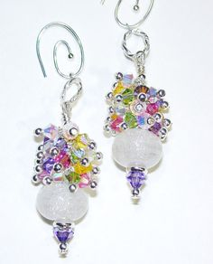 JBB Dichroic Swarovski Sprays Lampwork Glass Bead Earrings