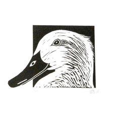 Les animaux de linogravure canard eend main sticker