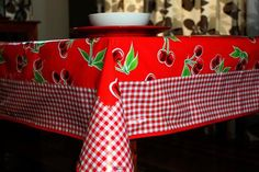 "Red Cherry And Gingham Oilcloth Tablecloth 84"" x 56"" Oilcloth Alley ~ oilclothalley.com"