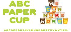 ABC Paper Cups - these would be great for a three year old birthday party
