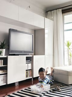 A TV storage solution that grows as your needs do. From big to small, the BESTÅ unit can be adjusted, modified and grown to suit your needs and style.