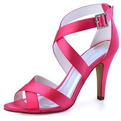 ElegantPark Women High Heel Shoes Open Toe Cross Strap Satin Wedding Dress  Sandals Hot Pink US 8bd01a522f14