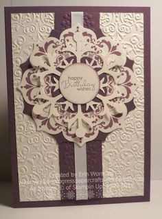 handmade birthday card ... Daydream Medallions stamping ... Floral Framelits and big snowflake die cuts ... luv the way the two mix together ...  Stampin' Up!