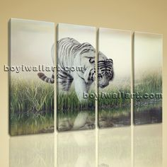 """Large Hd Canvas Print Modern Abstract Wall Art White Tiger Big Cat Wild Jungle Extra Large Wall Art, Gallery Wrapped, by Bo Yi Gallery 51""""x36"""". Large Hd Canvas Print Modern Abstract Wall Art White Tiger Big Cat Wild Jungle Subject : Tiger Style : Contemporary Panels : 4 Detail Size : 12""""x36""""x4 Overall Size : 51""""x36"""" = 130cm x 91cm Medium : Giclee Print On Canvas Condition : Brand New Frames : Gallery wrapped [FEATURES] Lightweight and easy to hang. High revolution giclee…"""