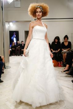 Badgley Mischka 2014 Strapless Ruffles A-line Bridal Dress