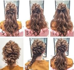 Hairstyles step by step. Up Dos For Medium Hair, Medium Hair Styles, Curly Hair Styles, Fancy Hairstyles, Bride Hairstyles, Beautiful Hairstyles, Wedding Hair Up, Bridal Hair, Bridesmaid Hair