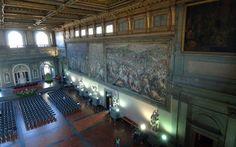 A view of the Sala dei 500 in which there is a fresco by Giorgio Vasari (right) under which engineer Maurizio Saracini believes hides the Battle of Anghiari by Leonardo Da Vinci