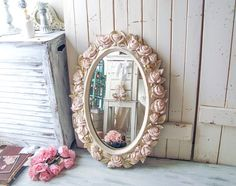 Vintage Rose Oval Cream and Blush Mirror Pink and Gold Floral