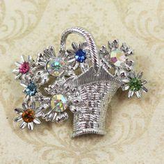 Vintage DODDS Silver Rhinestone Flower Basket Brooch by scdvintage, $14.00