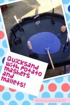 Quicksand cups of sand, 2 bags of cornflour, a squirt of paint and a little water mixed together) with potato mashers and mallets. Eyfs Activities, Nursery Activities, Outdoor Activities, Activities For Kids, Preschool Ideas, Tuff Spot, Outdoor School, Outdoor Classroom, Classroom Ideas