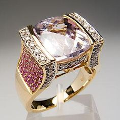 Natural 6 Carat Kunzite Pink Sapphire & Diamond Cocktail Ring 14K Gold