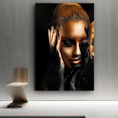 Black Gold Nude African Art Oil Painting on CanvasPosters Prints Wall Picture Abstract Canvas, Oil Painting On Canvas, Canvas Art Prints, Wall Canvas, Painting Art, Paintings, Art Mural Africain, Images Murales, African Wall Art