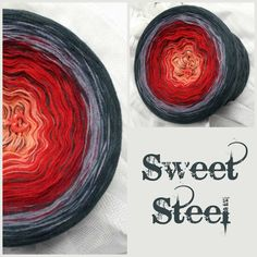 Sweet Steel: Hochbauschacryl 5 Farben:REIN mandarin karminrot weinrot stahlgrau graphit Graphit zusätzlich als Beilauffaden durchgehend gewickelt