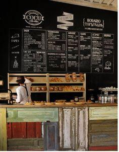 I like this chalkboard Boulangerie COCU Cafe Bar, Cafe Bistro, Cafe Shop, Bakery Cafe, Bakery Interior, Cafe Interior Design, Cafe Design, Café Restaurant, Restaurant Branding