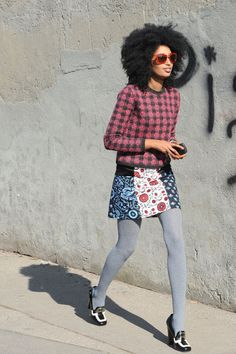 LOVE her style! And that 'fro. Get tights like these at www.nononsense.com  #nononsensestyleremix #ad #bh @benononsense