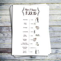 WEDDING TIMELINE Customize your wedding timeline with this adorable 5x7 printable. We can change the colors and drawings to match your wedding