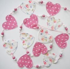 HEART BEADED BUNTING hand made Girls baby Bedroom nursery bedroom decoration wall art Made using Cath Kidston fabric