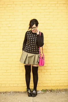 Outfit Details: Kate Spade Saturday Gold Dot Perfect Crew Sweatshirt in Lots of Dots Black Kate Spade Saturday Deep Pleat Mini Skirt in Gold Miista Alexia platforms in Black/Gold Kate Spade Saturday Mini A Satchel in Hyper Pink Stila Stay All Day Liquid Lipstick in Fiore Lookmatic Payton frames