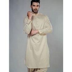 Terrific formal kurta shalwar dress for men in cream colour. Buy online at http://www.Needlehole.co.uk