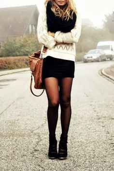 White hand woven sweater, black shirt, scarf and black shorts fashion for fall