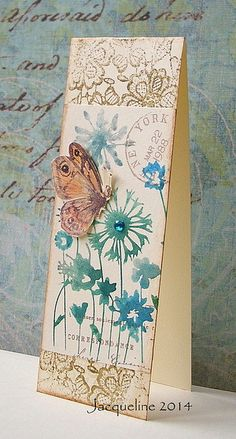 handmade card ... tall and thin ... Size is 4,25x1.50cm ... water spritzed stamp for flowers ... half butterfly with raised wing .... lovely!