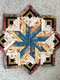 """A Quilt and A Prayer ~ a beautiful block by Edyta Sitar, which she calls it her """"Eldon block"""" from Edyta Sitar's quilting class. I love the dimension this brings and how the colors just form it's shape. Quilting Tutorials, Quilting Projects, Quilting Designs, Quilting Ideas, Star Quilts, Mini Quilts, Quilt Block Patterns, Quilt Blocks, Paper Piecing"""