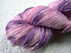 Blackcurrant Mousse pure Tussah Silk 4-ply fingering yarn, hand dyed / painted